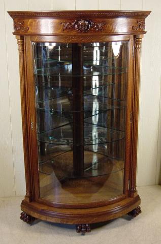 Antique R.J. Horner Oak Corner China Cabinet