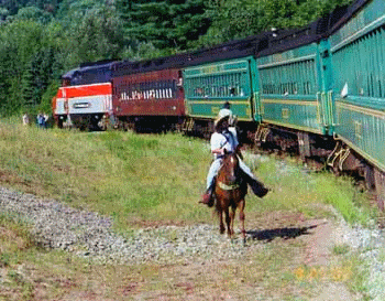 Stourbridge Line Railroad Great Train Robbery with cowboys on horseback from Triple W Ranch in Honesdale Pennsylvania